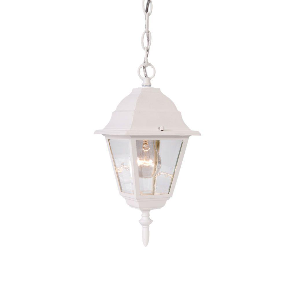 Builder´s Choice Collection Hanging-Mount 1-Light Outdoor Textured White Lantern