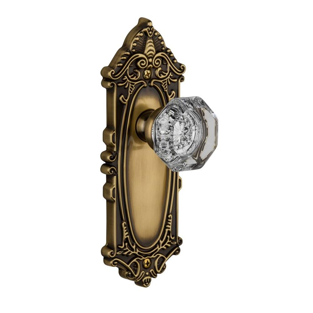 Grandeur Grande Victorian Vintage Bronze Plate with Passage Chambord Crystal Knob