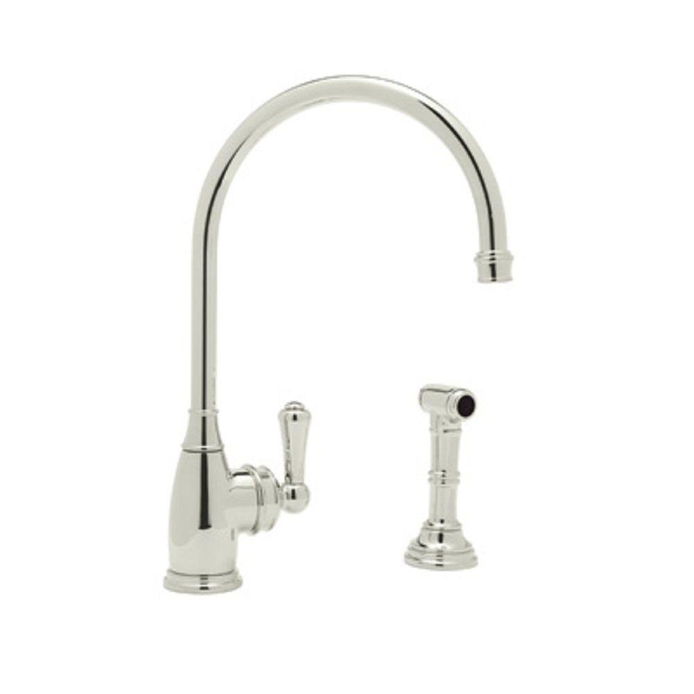 Rohl Perrin and Rowe Single-Handle Standard Kitchen Faucet with Side Sprayer in Polished Nickel