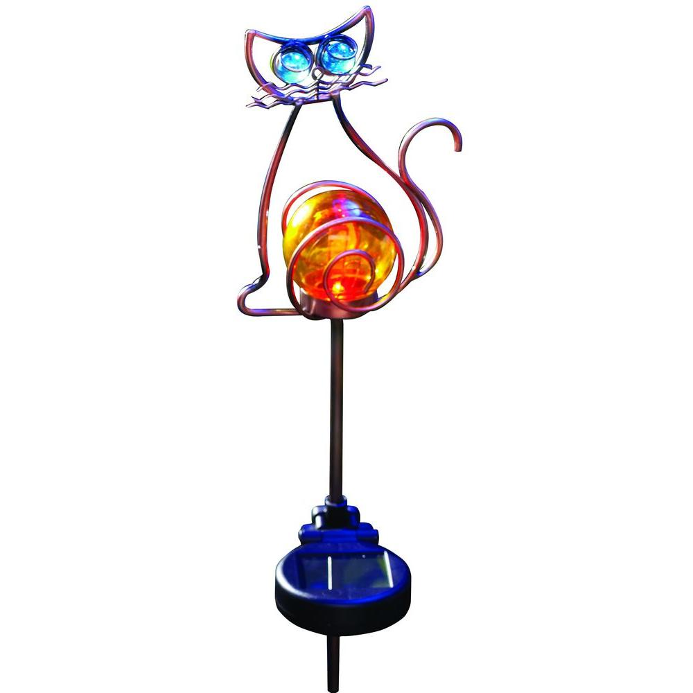 Moonrays Outdoor Bronze Solar Powered Color-Changing LED Cat Stake Light-DISCONTINUED