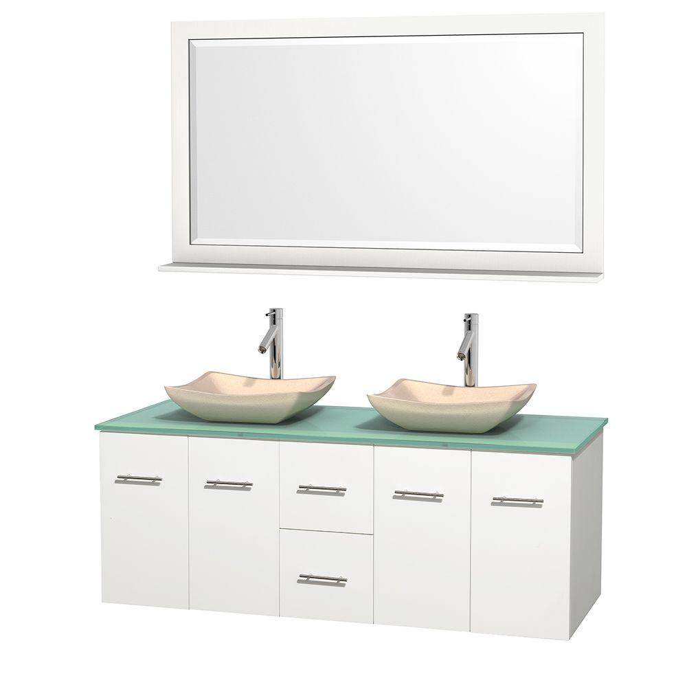Wyndham Collection Centra 60 in. Double Vanity in White with Glass
