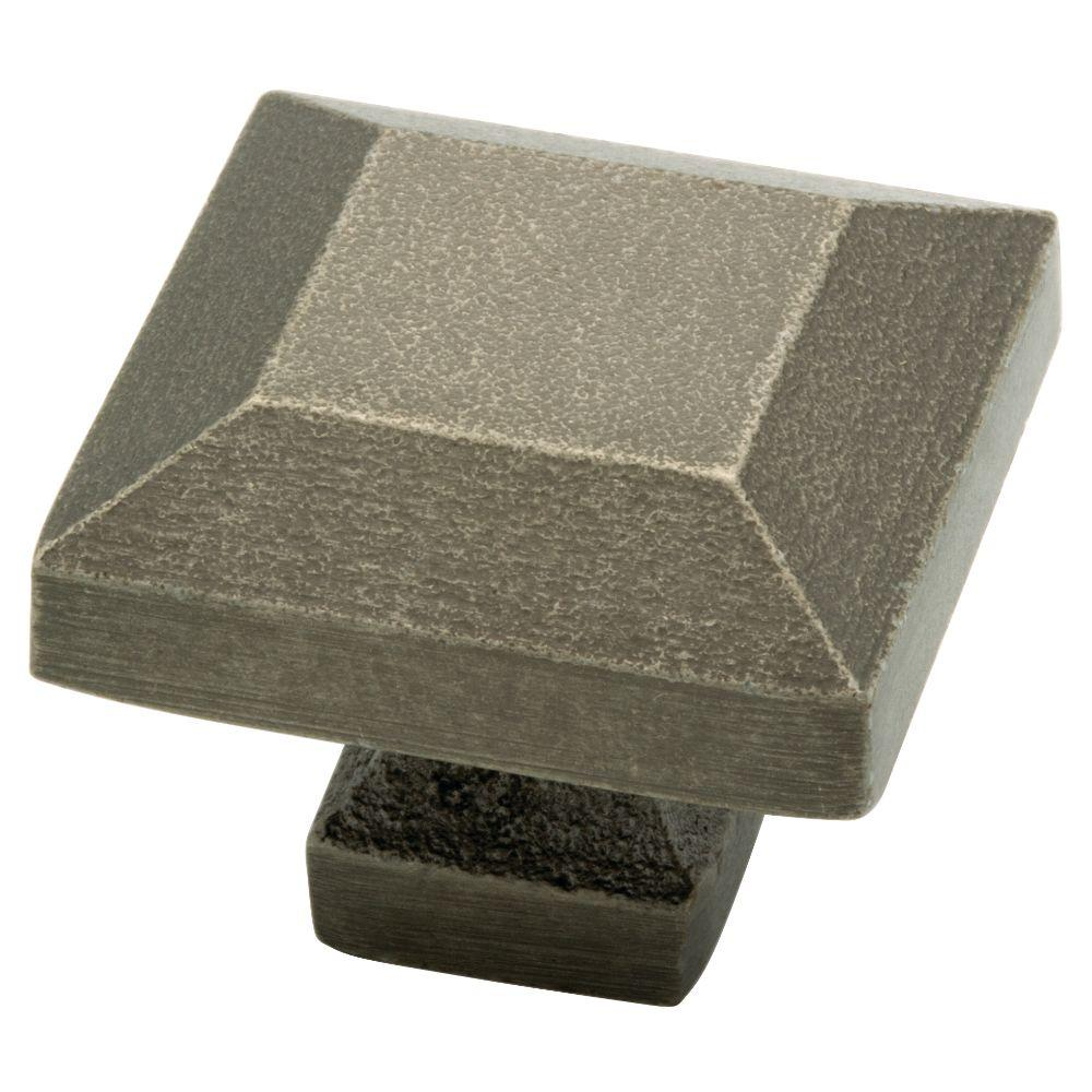 Iron Craft 1-1/4 in. Tumbled Pewter Square Cabinet Knob