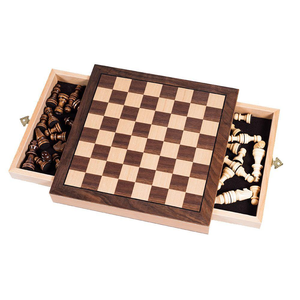 Trademark Games Elegant Inlaid Wood Chess Cabinet with Staunton Wood