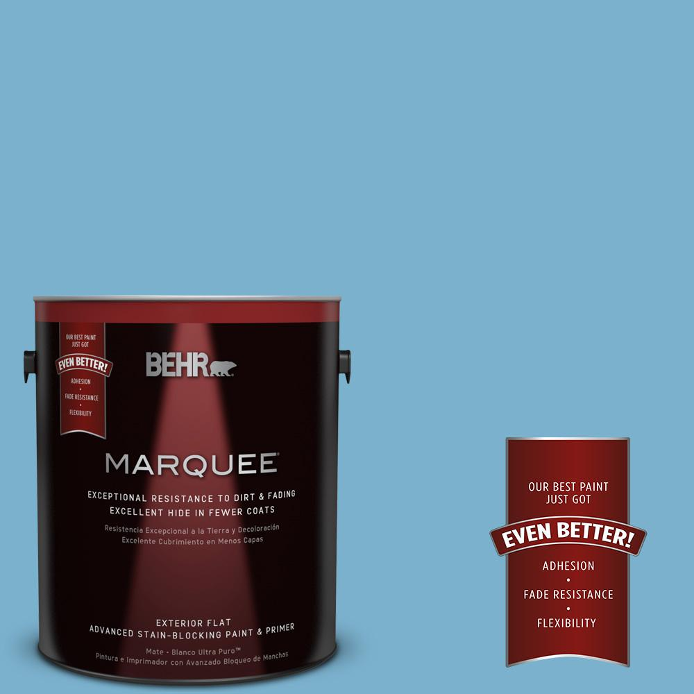 BEHR MARQUEE 1-gal. #M490-4 Frisky Blue Flat Exterior Paint-445401 - The