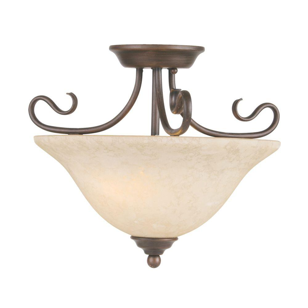 Livex Lighting 2-Light Bronze Flushmount with Vintage Scavo Glass-6121-58 - The