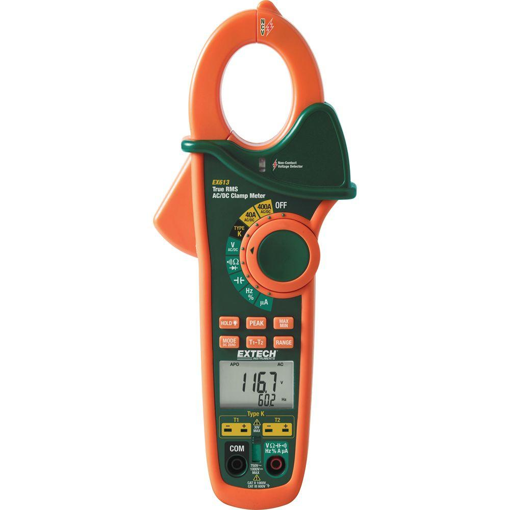 Extech Instruments 400-Amp Dual Input AC/DC Clamp Meter + NCV-EX613 -