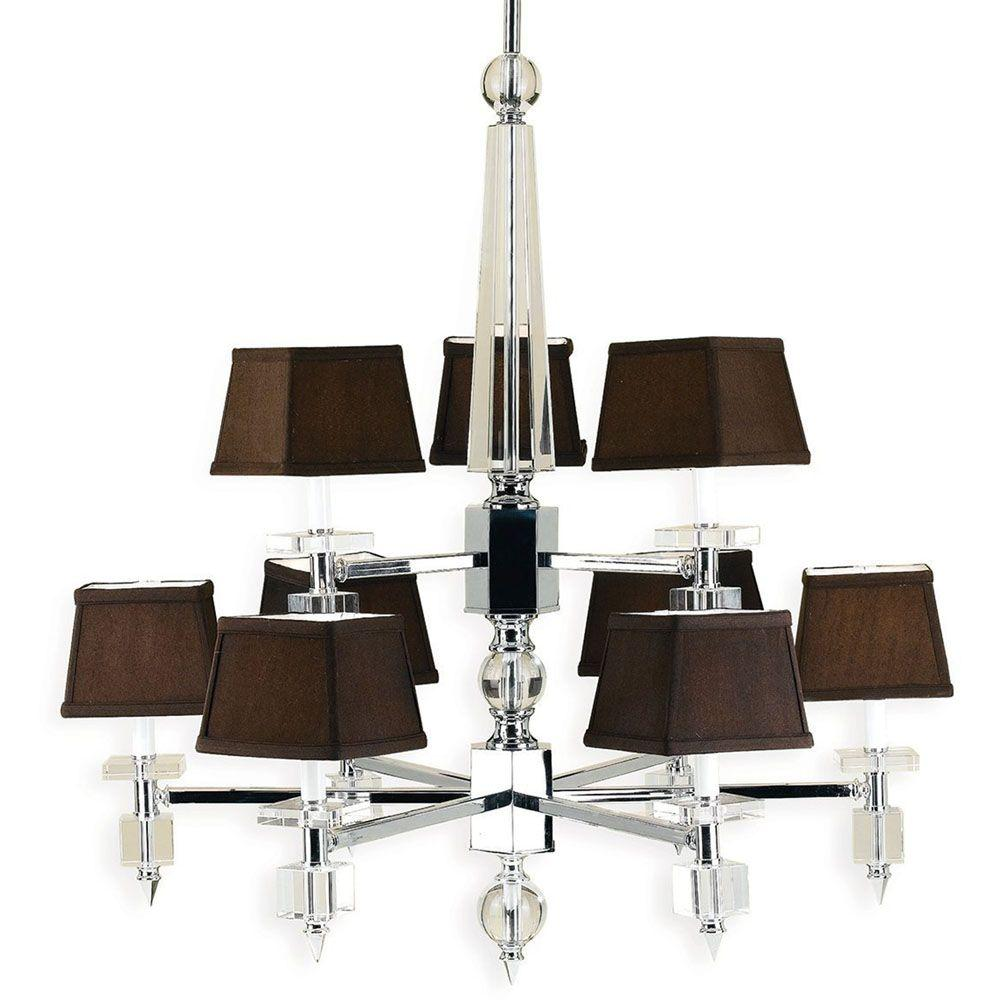 Cluny 9-Light Chrome Chandelier with Chocolate Shades