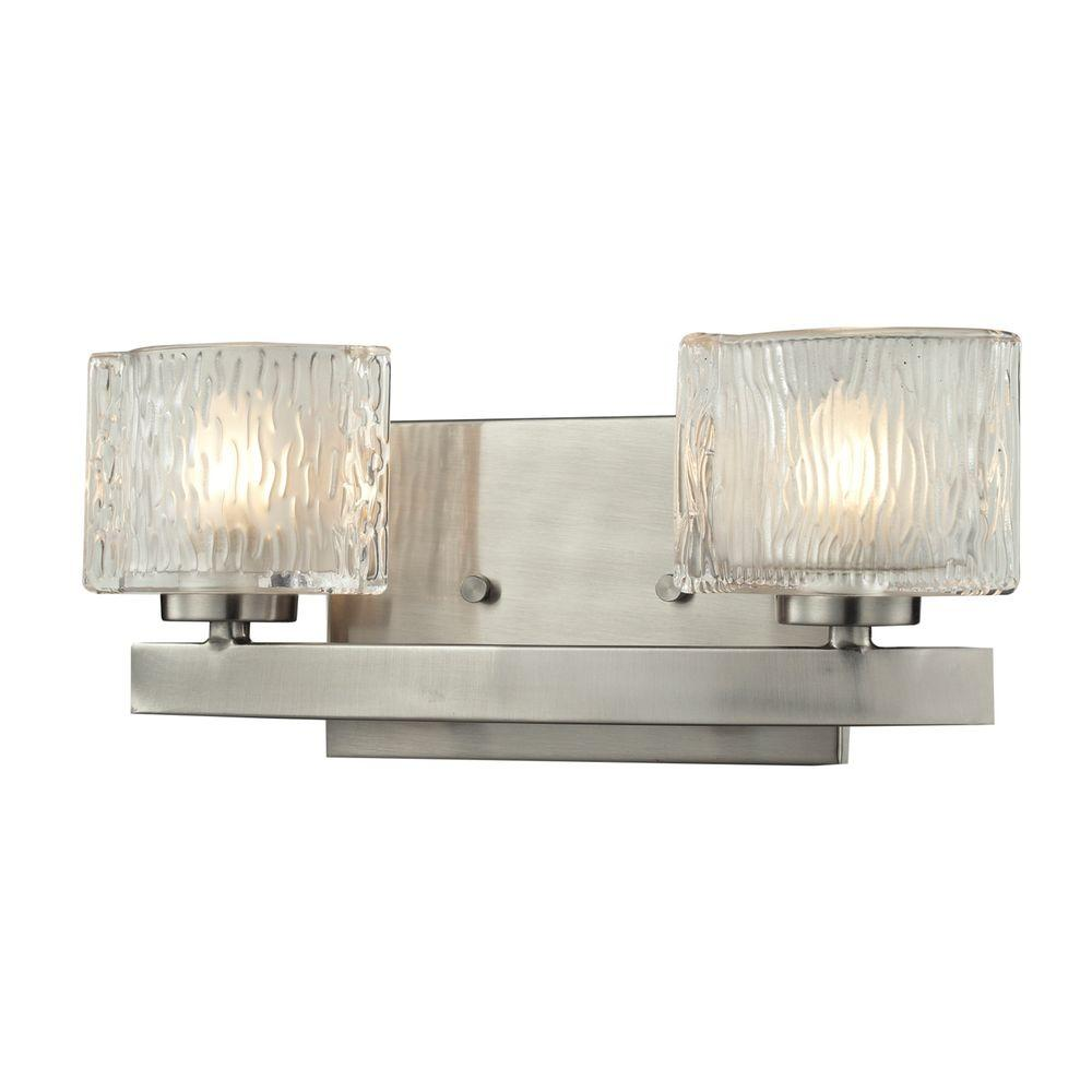 Rainfall 2-Light Brushed Nickel Bath Vanity Light