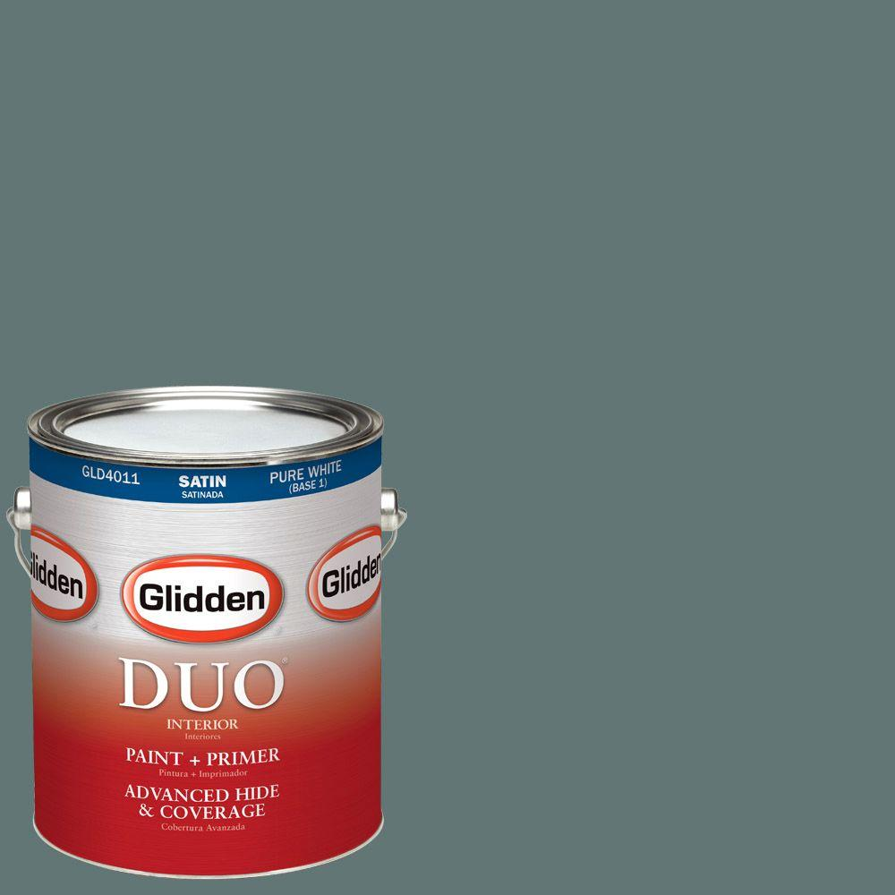 Glidden DUO 1-gal. #HDGCN21D Dark Teal Woods Satin Latex Interior Paint with Primer