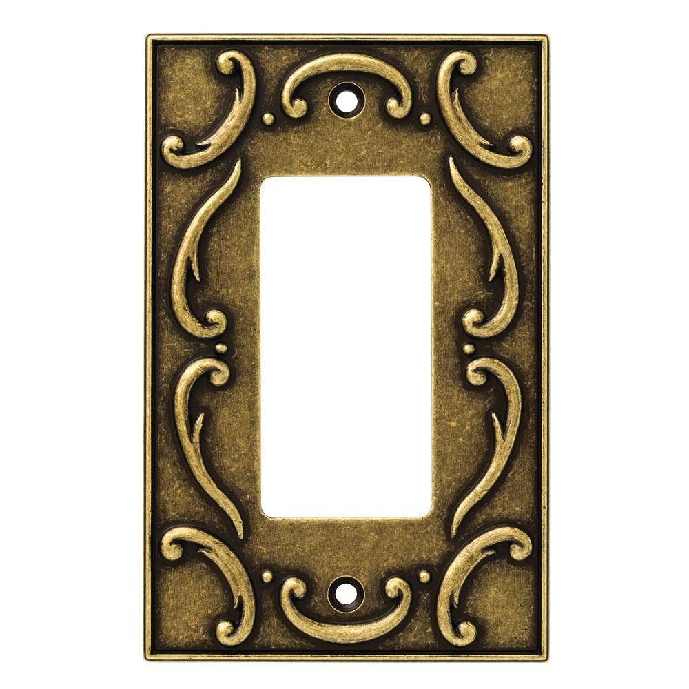 Liberty French Lace 1 Rocker Wall Plate - Burnished Antique Brass-126347