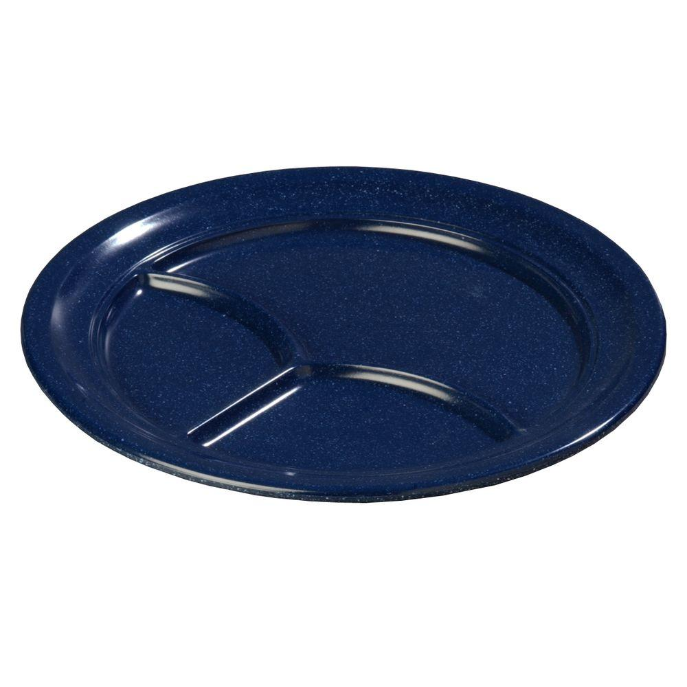 9.67 in. Diameter Melamine 3-Compartment Plate in Cafe Blue (Case of