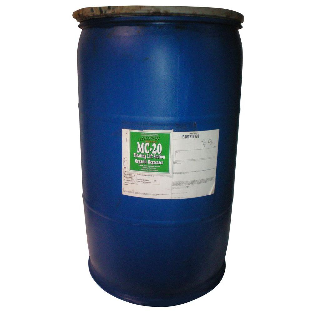 ACTION ORGANIC 1-55 Gal. Drum Organic Septic Tank and Lift Station Degreaser with Available Cherry Scent (at 50% Concentrate)