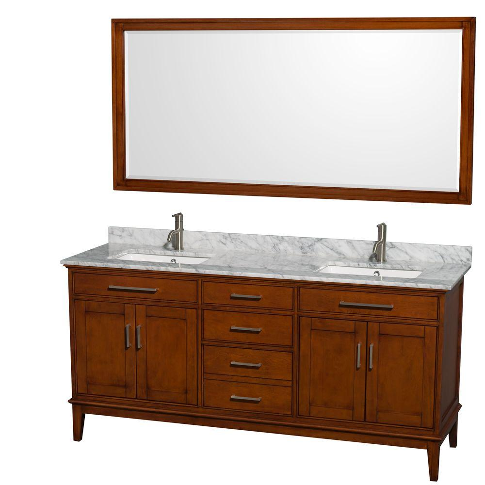 Wyndham Collection Hatton 72 in. Vanity in Light Chestnut with Marble Vanity Top in Carrara White, Square Sink and 70 in. Mirror