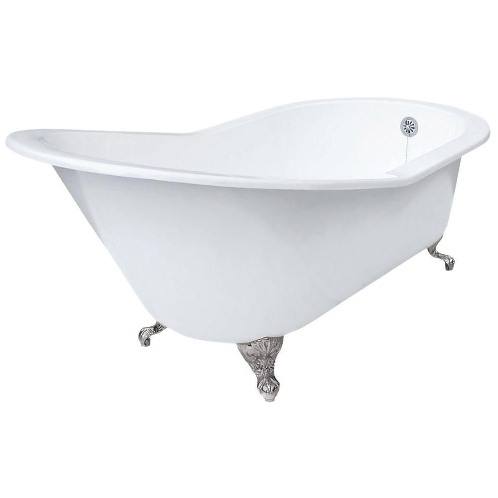 Grand Slipper Cast Iron Clawfoot Tub, Less Faucet Holes in Satin