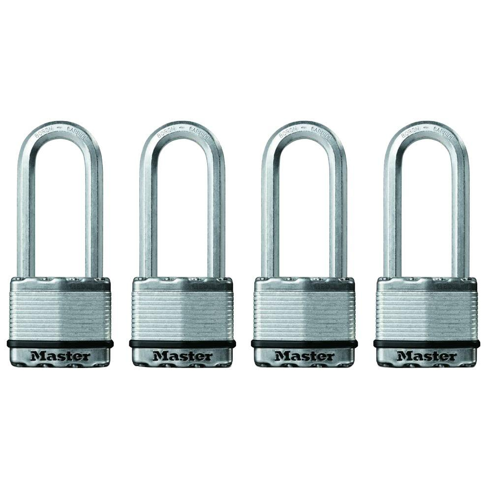 Master Lock Magnum 2 in. Laminated Steel Padlock with 2-1/2 in. Shackle (4-Pack)