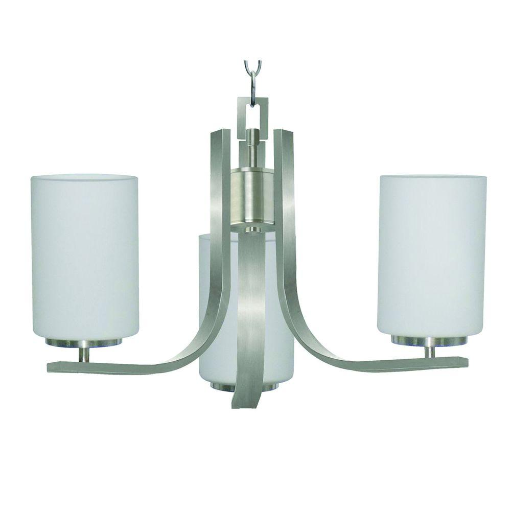 Yosemite Home Decor Panorama Trail 3-Light Satin Steel Hanging Chandelier with Dove White Glass Shade