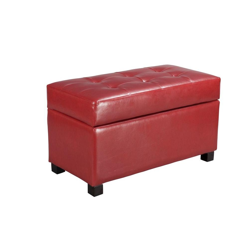 OSPdesigns Faux Leather Storage Ottoman in Crimson Red