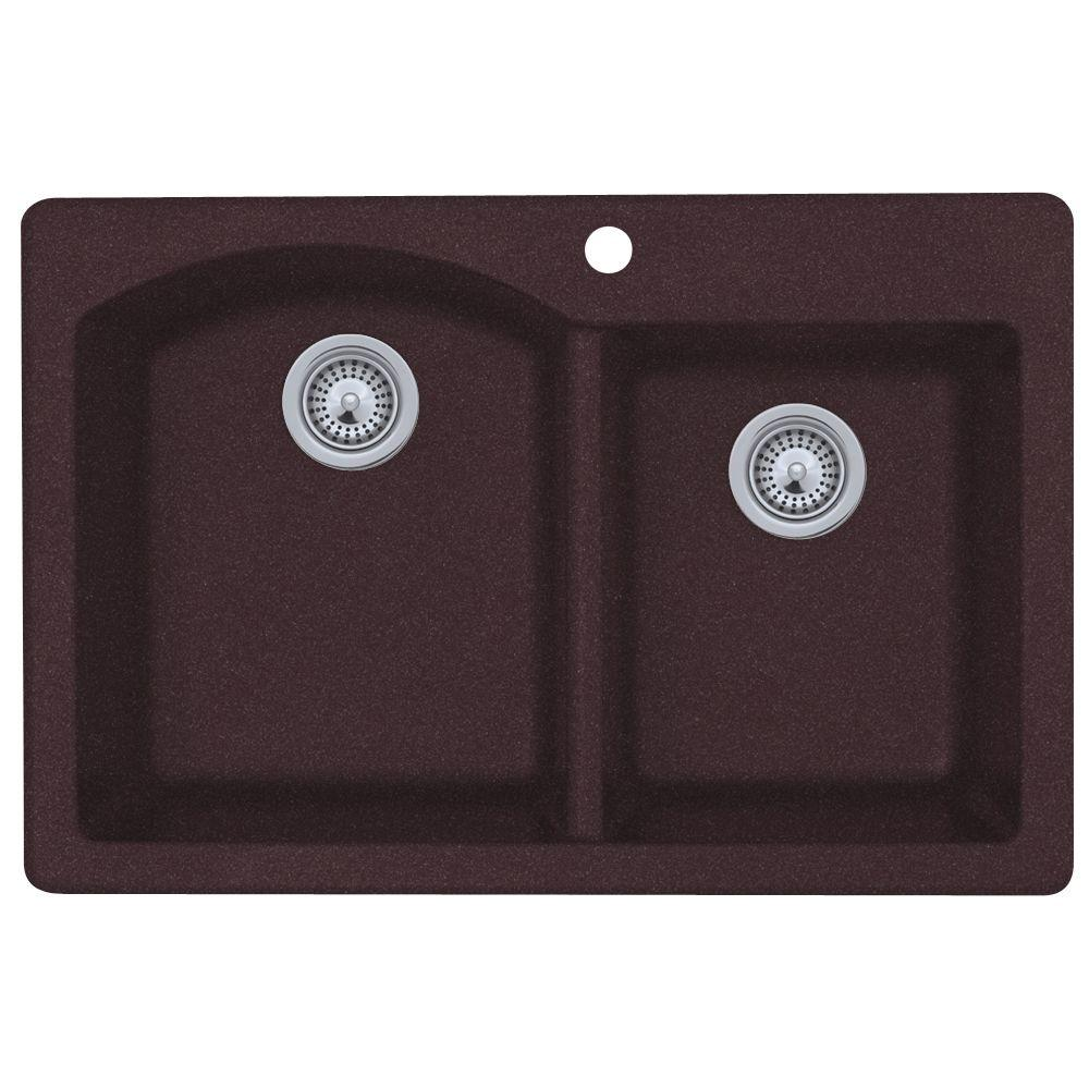 Swan Dual Mount Granite 33 in. 1-Hole Double Bowl Kitchen Sink