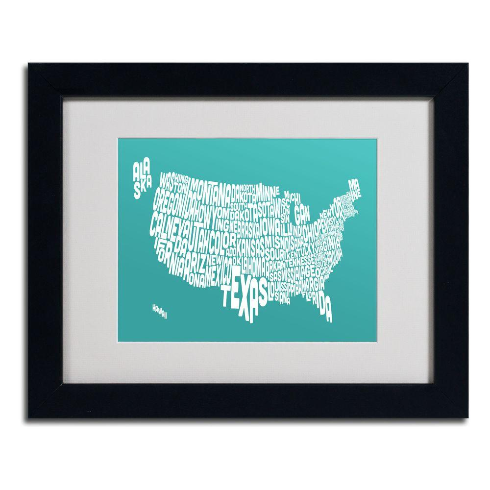 Trademark Fine Art 11 in. x 14 in. USA States Text Map - Turquoise Matted Framed Art