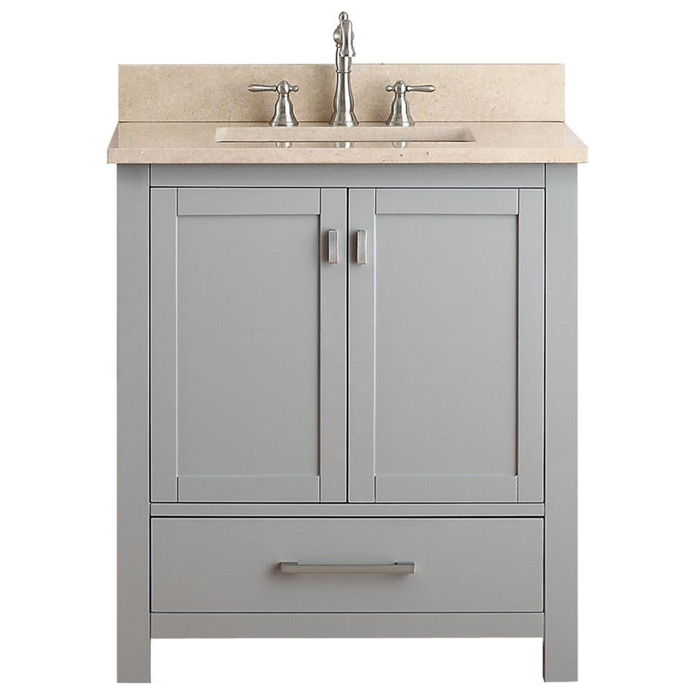 Avanity Modero 31 in. W x 22 in. D x 35 in. H Vanity in Chilled Gray with Marble Vanity Top in Galala Beige and White Basin