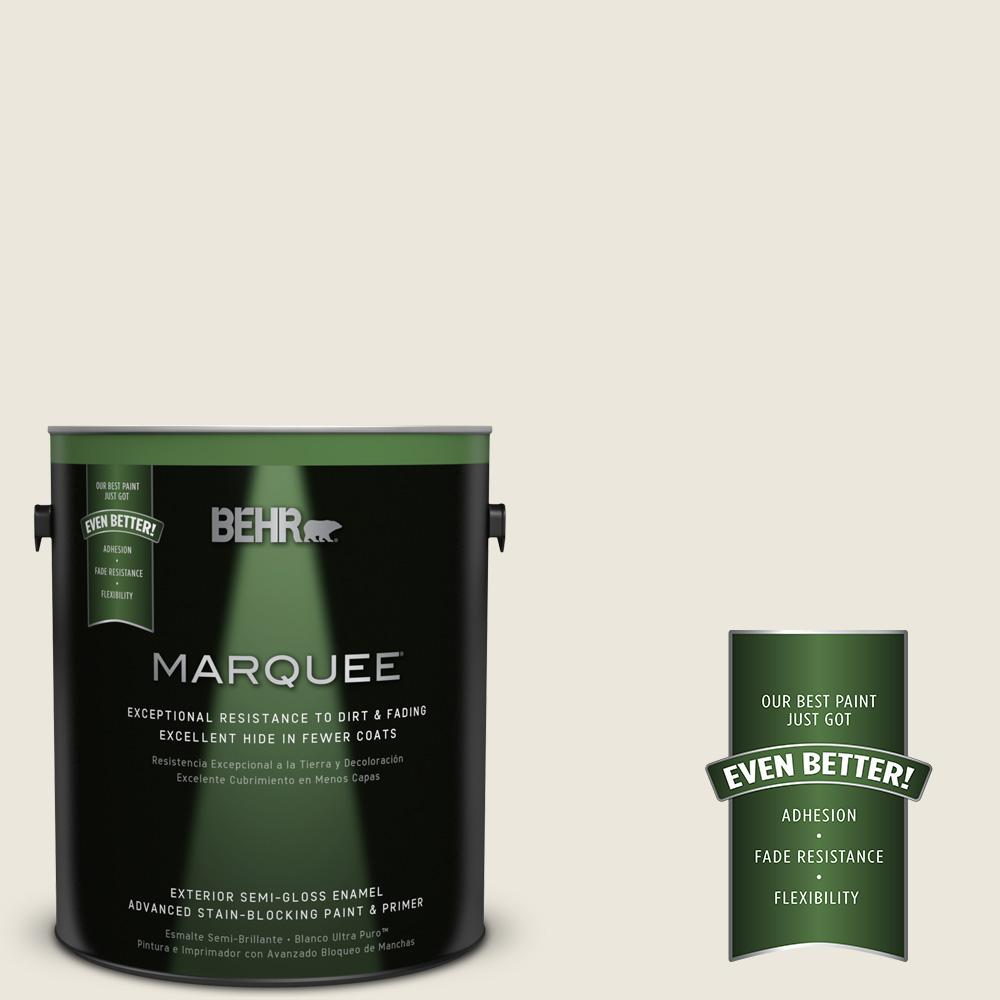 BEHR MARQUEE 1-gal. #BXC-32 Picket Fence White Semi-Gloss Enamel Exterior Paint