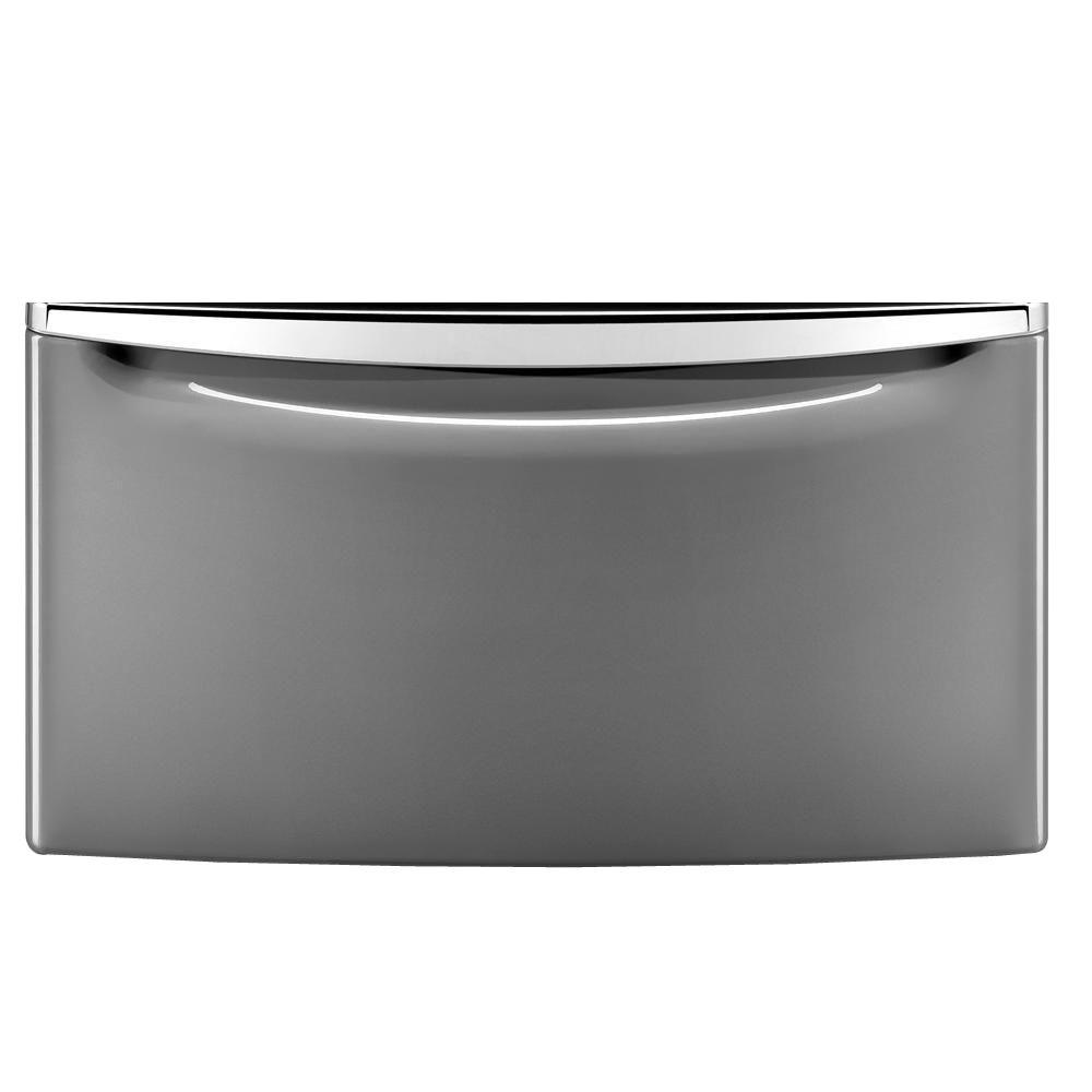 15 in. Laundry Pedestal with Storage Drawer in Chrome Shadow/Metallic Slate