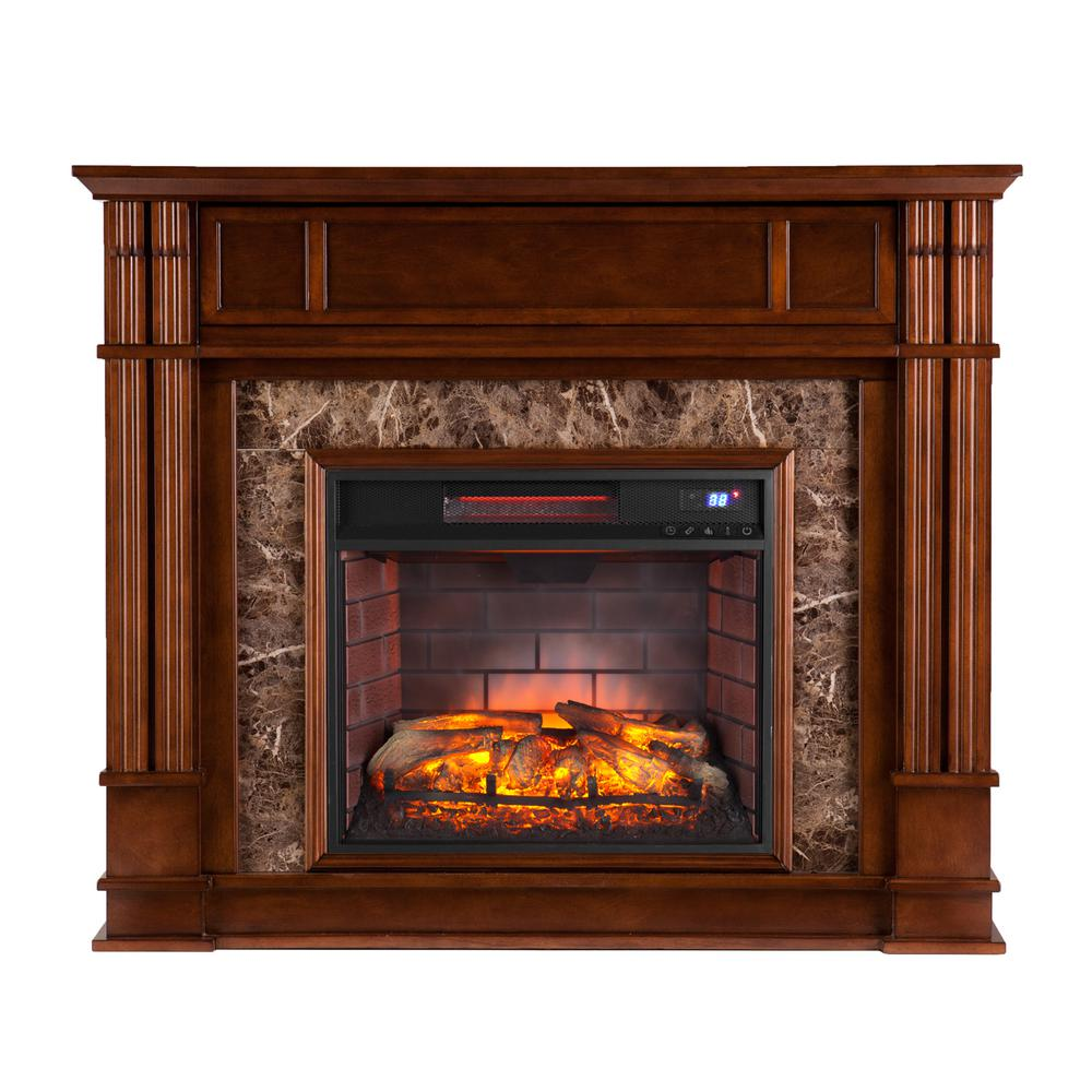 Rochester 48 in. W Faux Stone Infrared Electric Media Fireplace in