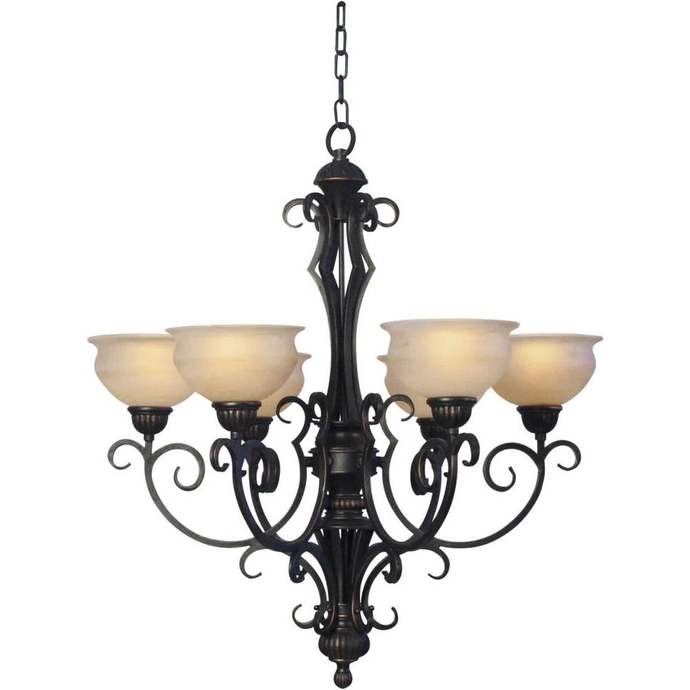 Illumine 6 Light Chandelier Bordeaux Finish Rustic Umber Glass-DISCONTINUED