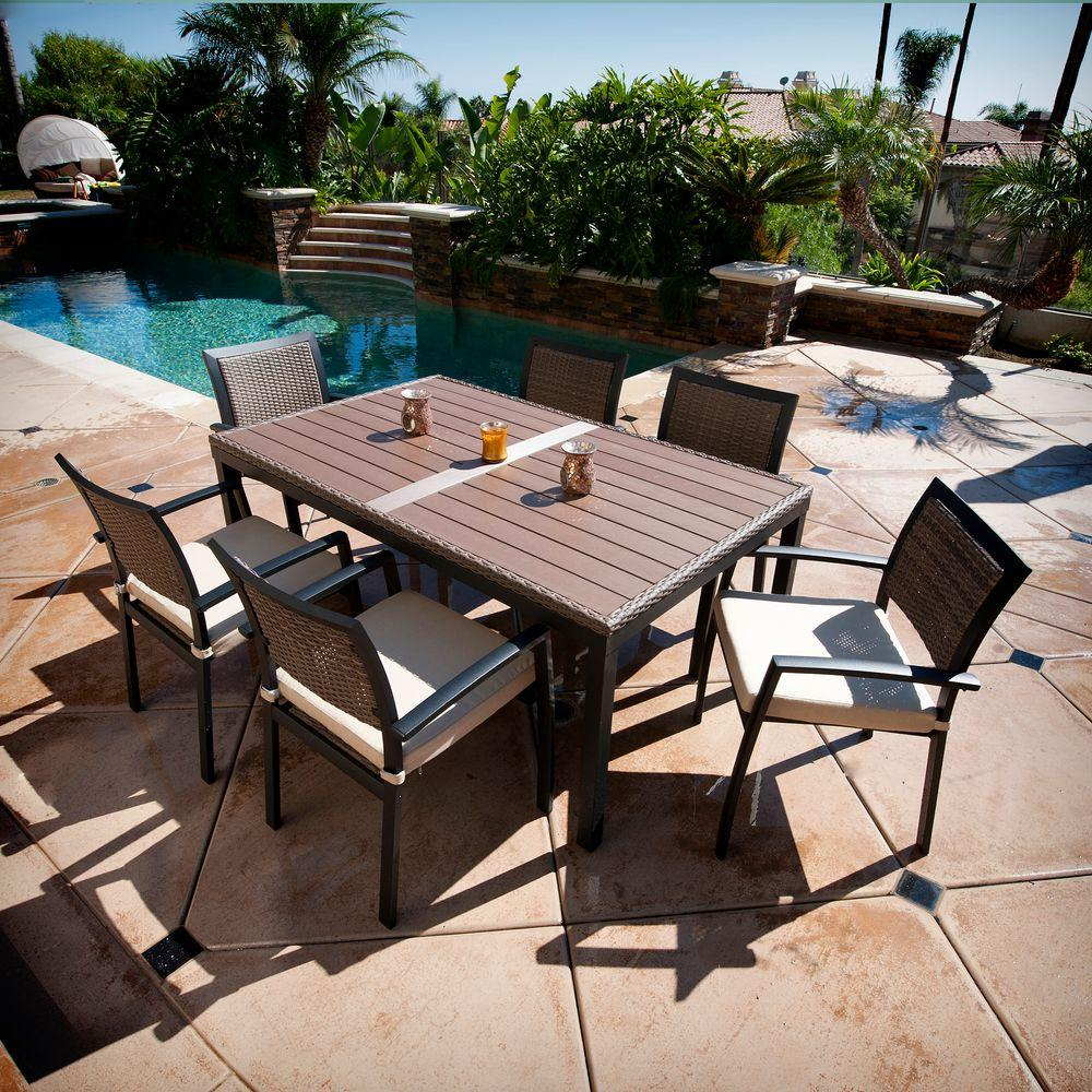 RST Brands Zen 7-Piece Patio Dining Set with Spectrum Sand Cushions