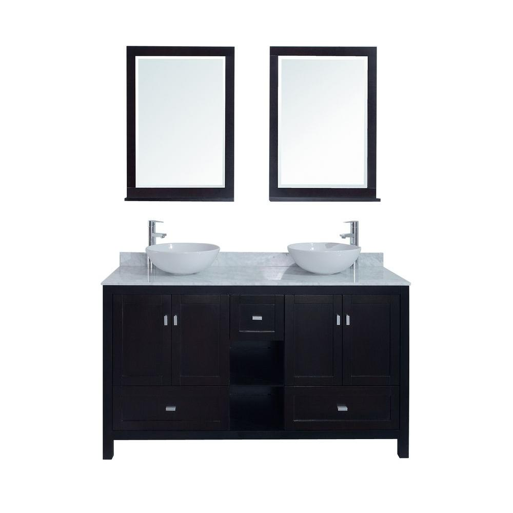 stufurhome Dakota 60 in. Double Vanity in Espresso with Marble Vanity Top in White and Mirror-DISCONTINUED