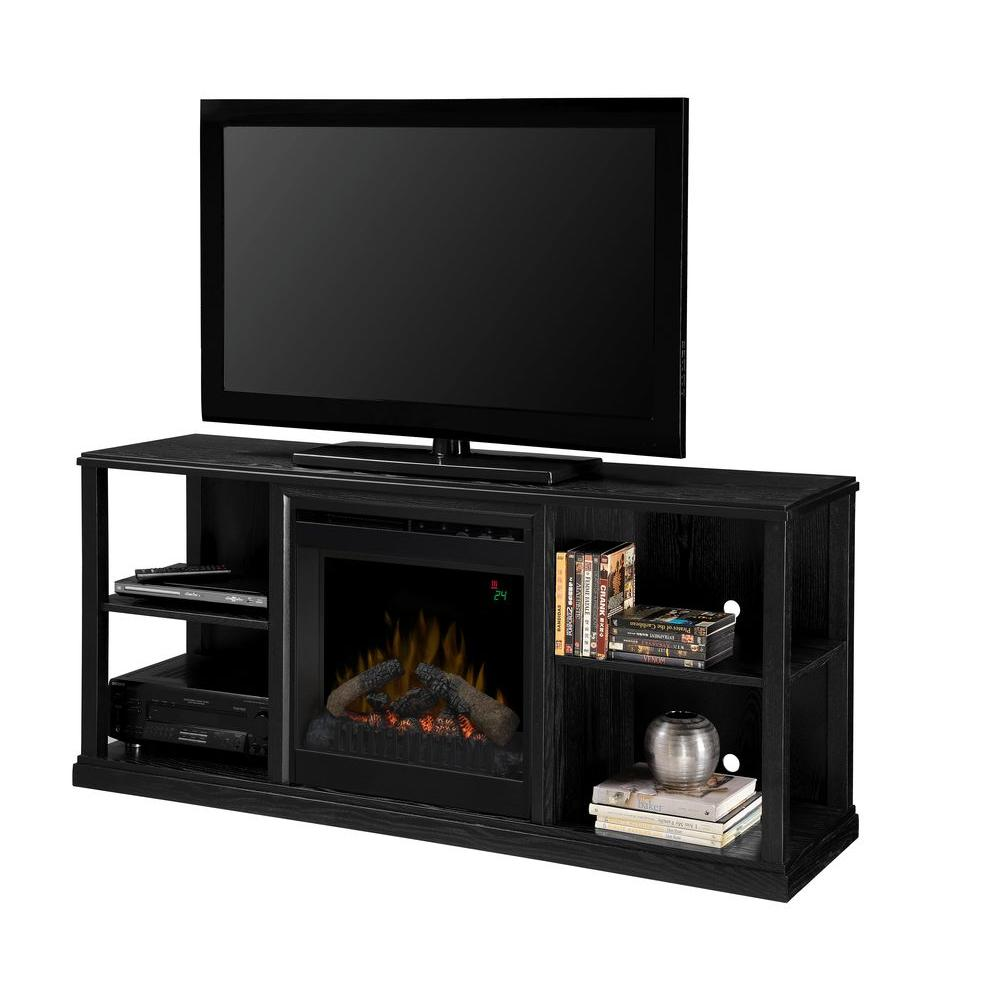 Jayden 61 in. Media Console Electric Fireplace in Black