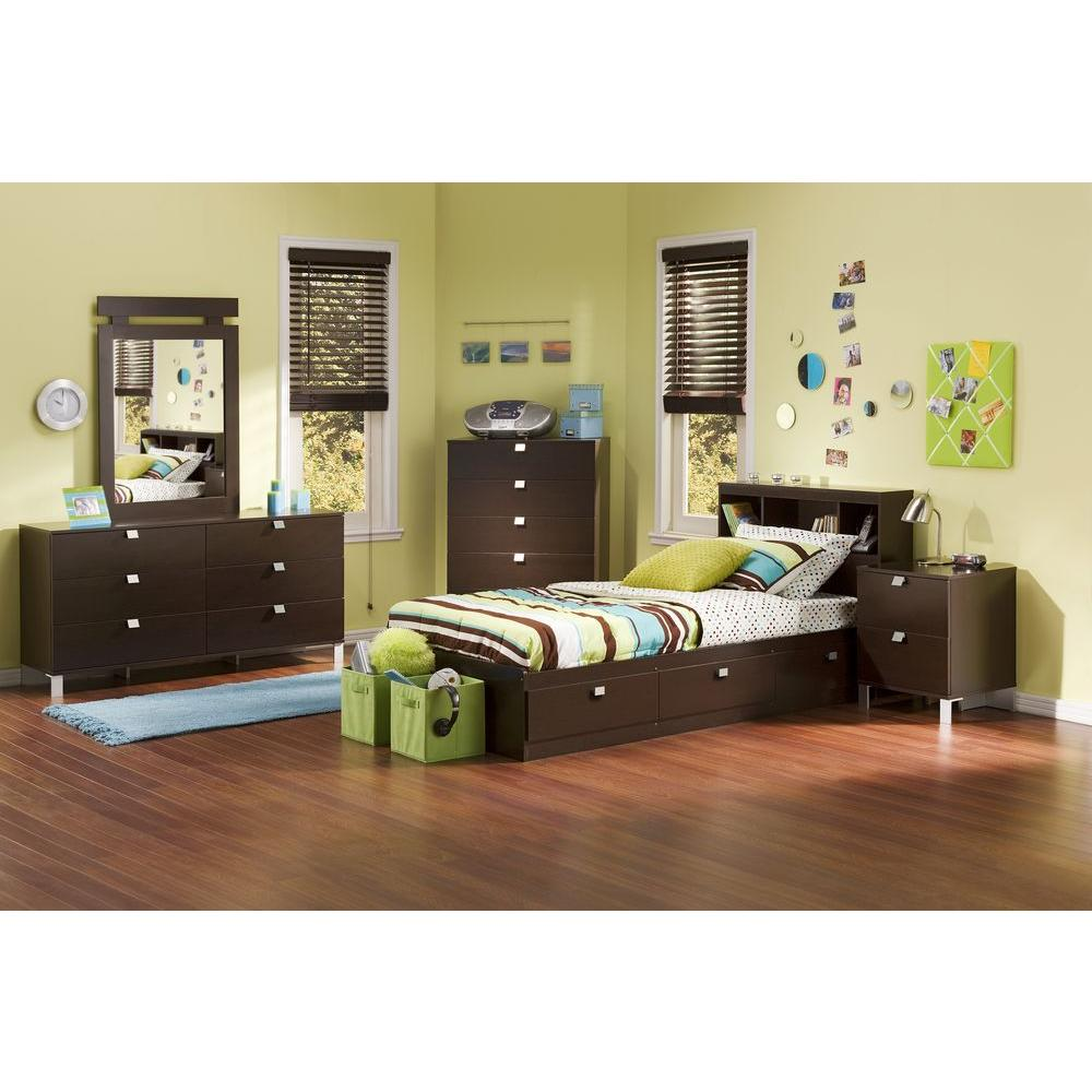 Spark Twin-Size Bookcase Headboard in Chocolate