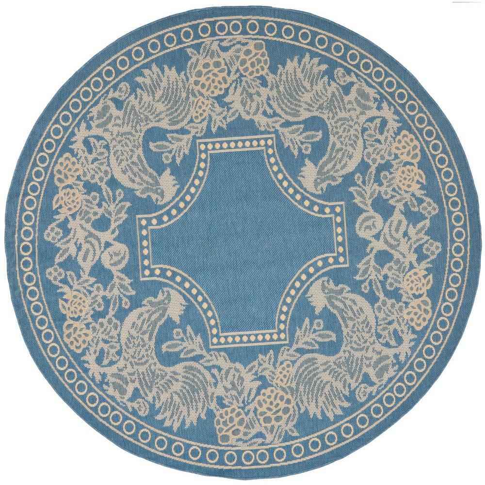Courtyard Blue/Natural 5 ft. 3 in. x 5 ft. 3 in. Indoor/Outdoor Round Area Rug
