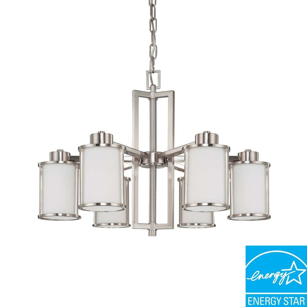 Glomar 6-Light Brushed Nickel Fluorescent Ceiling Chandelier-HD-3806 - The Home