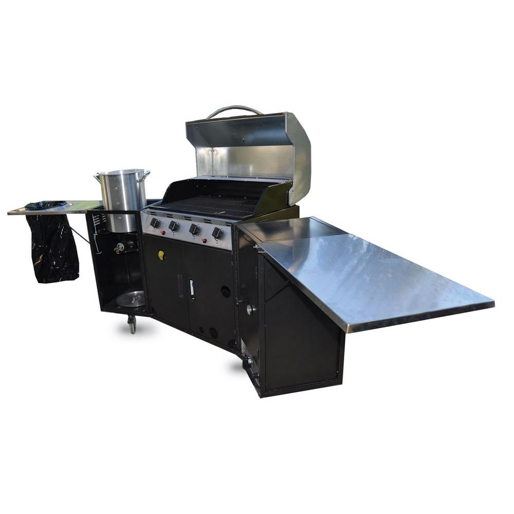 GoGalley Eagle 100 Outdoor Kitchen with 5-Burner Propane Gas Grill, Smoker and Side Burner Boiler-DISCONTINUED