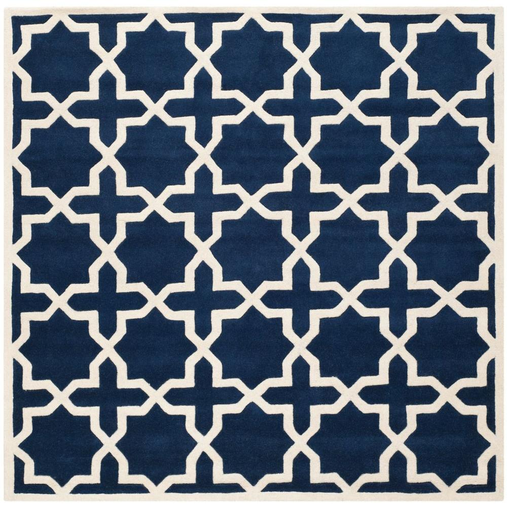Chatham Dark Blue/Ivory 5 ft. x 5 ft. Square Area Rug