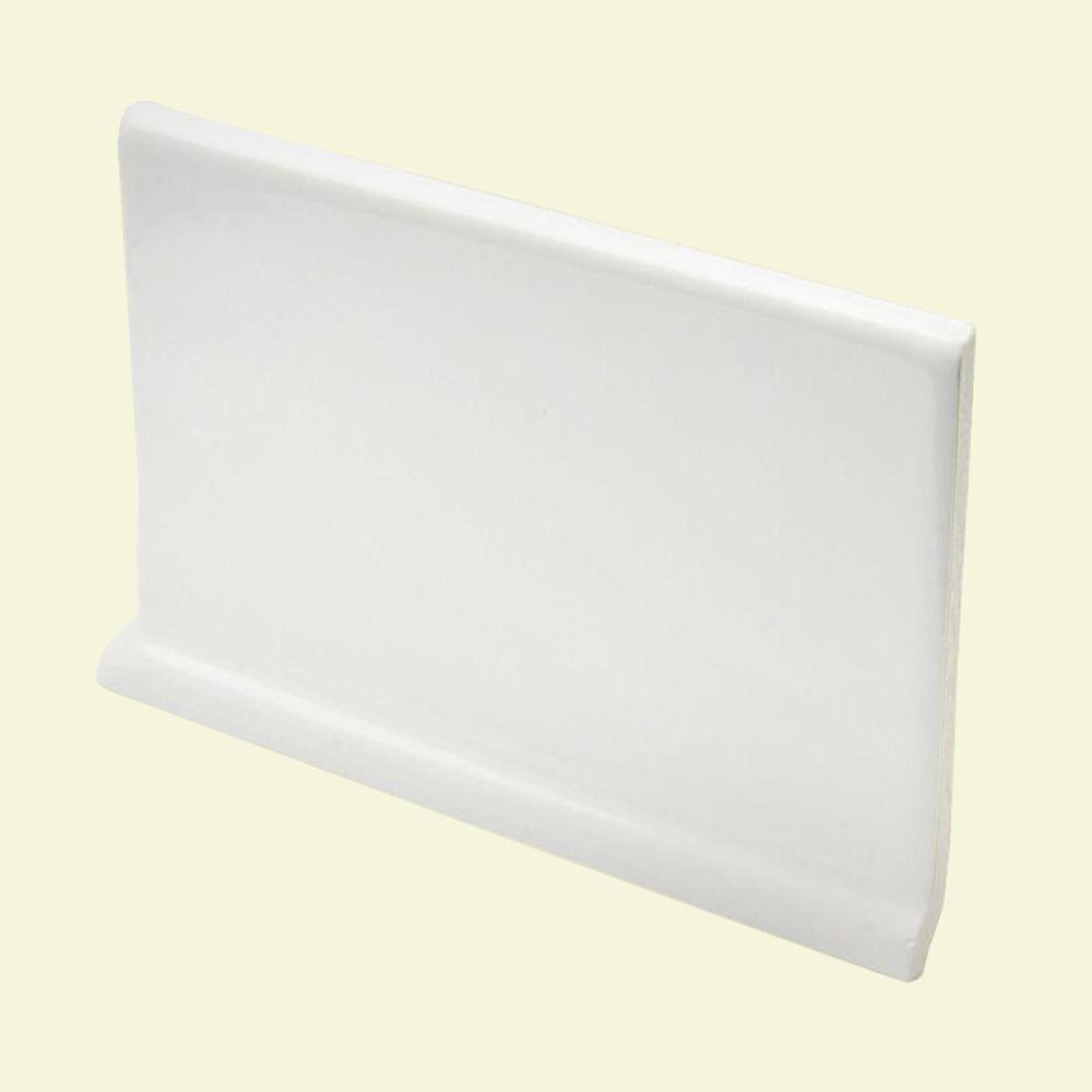 U.S. Ceramic Tile Color Collection Matte Snow White 4 in. x 6 in. Ceramic Cove Base Wall Tile-DISCONTINUED