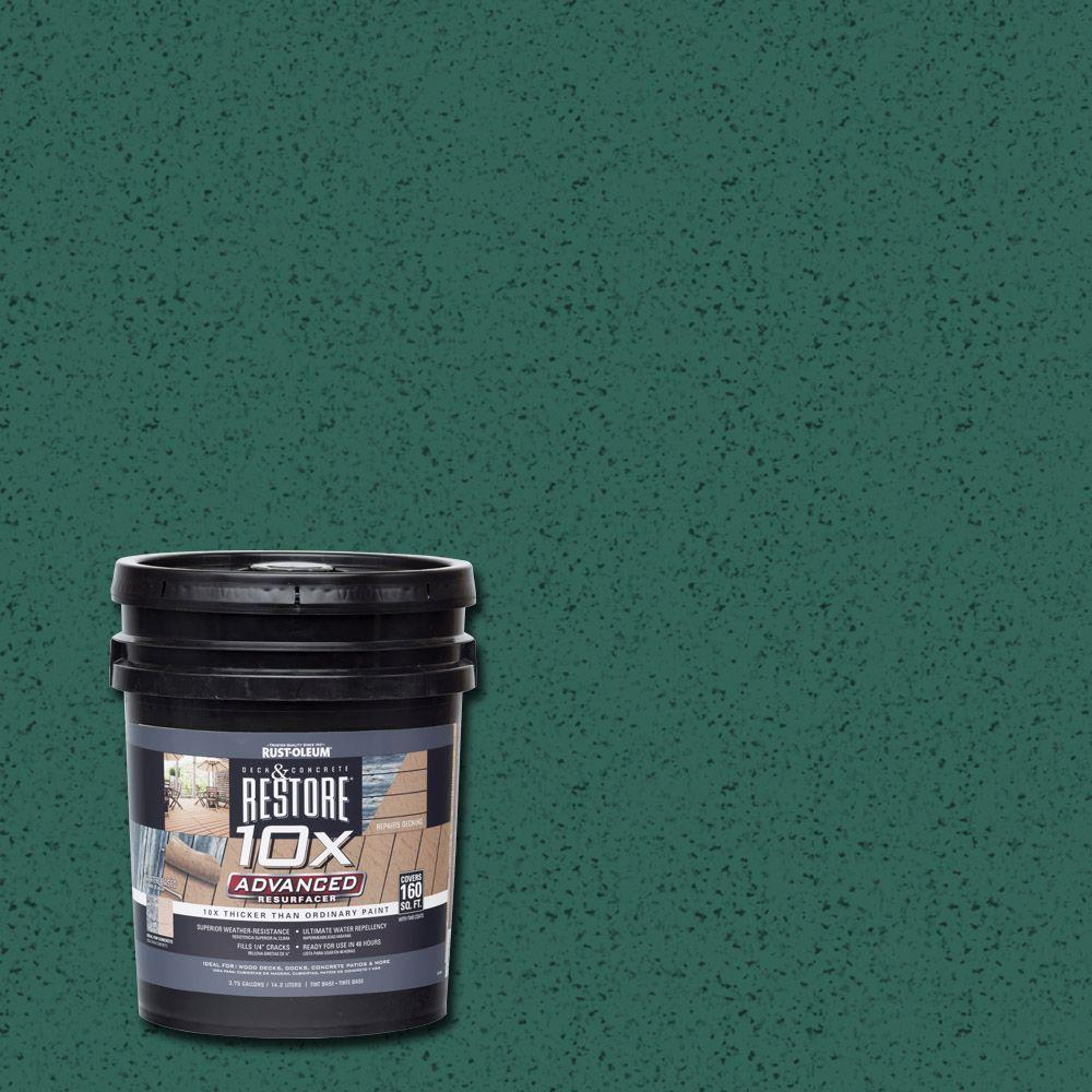 Deck & Patio Restoration: Rust-Oleum Restore Paint 4 gal. 10X Advanced Forest Deck and Concrete Resurfacer 291490