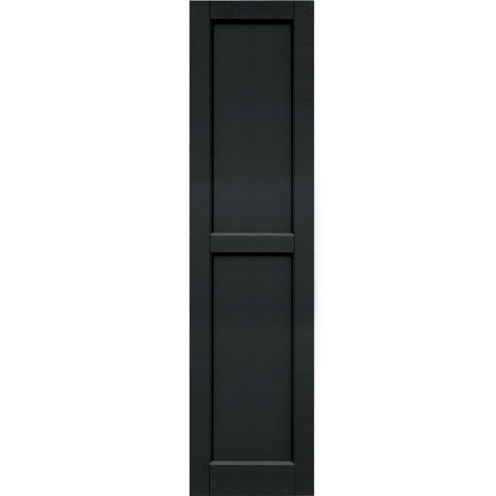 Raised Panel: Winworks Shutters & Hardware Wood Composite 15 in. x 60 in. Contemporary Flat Panel Shutters Pair #632 Black 61560632
