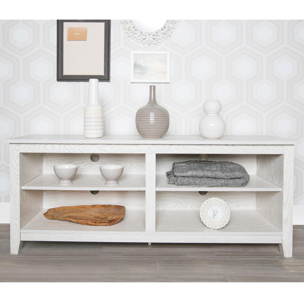 Walker Edison Furniture Company Essentials White Wash Storage Entertainment Center W58cspww