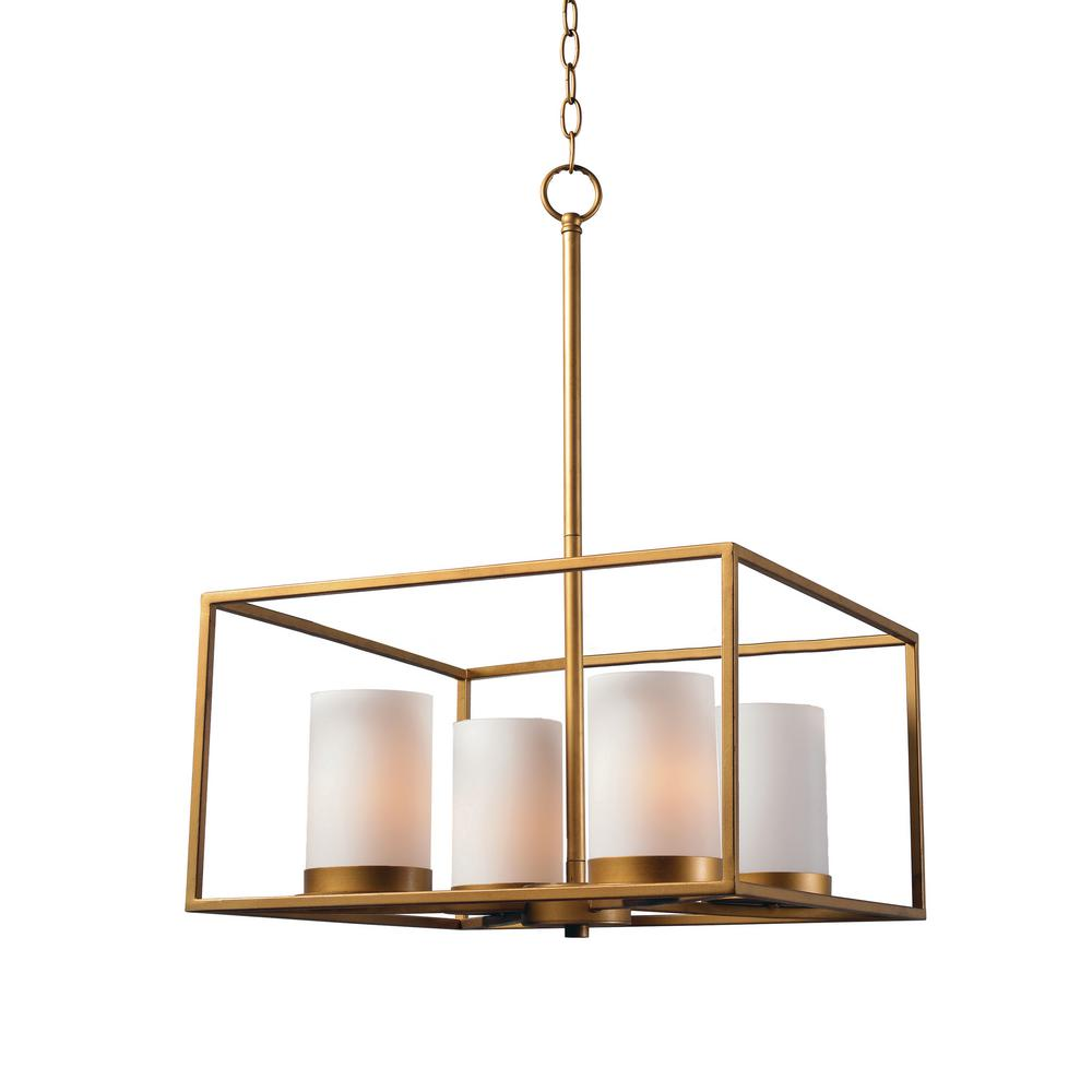 Tam 4-Light Gold Chandelier with White Glass Shade