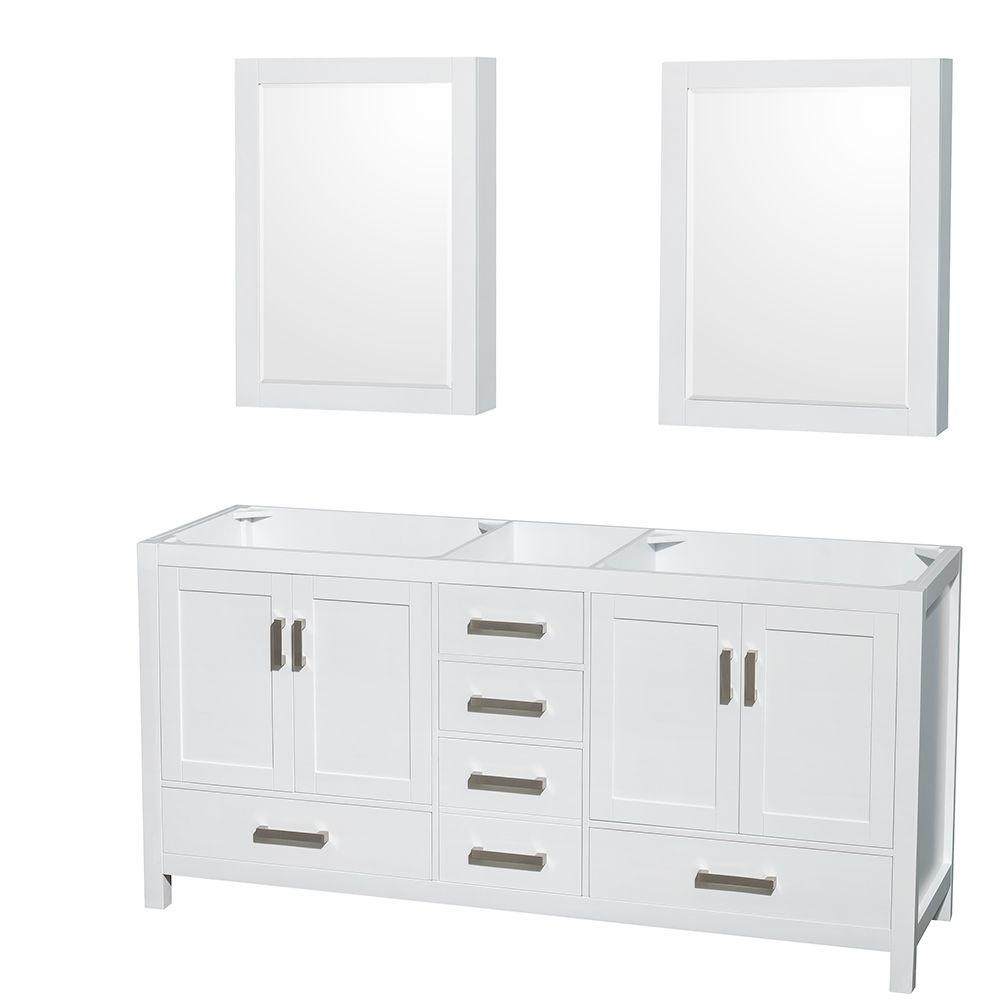 Wyndham Collection Sheffield 72 in. Double Vanity Cabinet with Mirror Medicine Cabinets in White