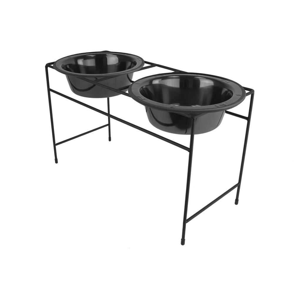 Platinum Pets 3.5 Cup Modern Double Diner Feeder with Dog Bowls,