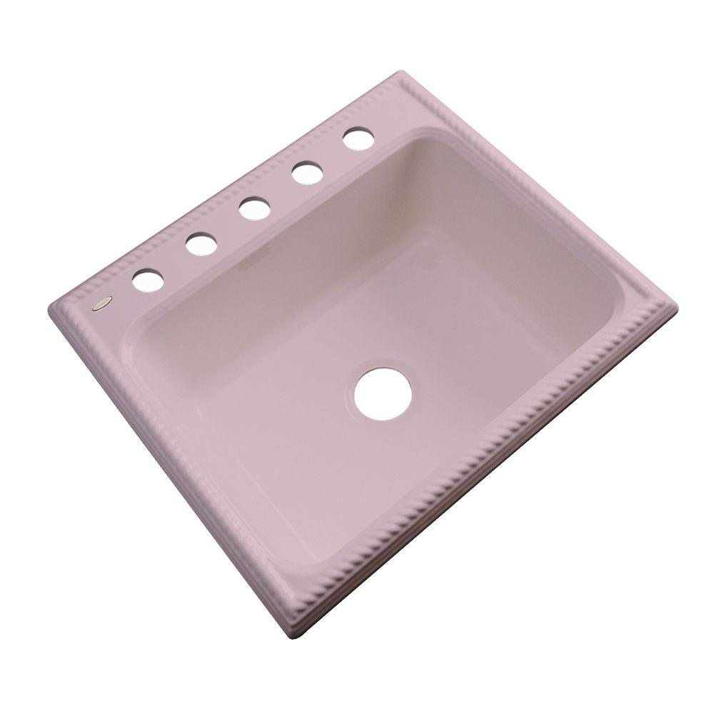 Thermocast Wentworth Drop-In Acrylic 25 in. 5-Hole Single Basin Kitchen Sink in Wild Rose