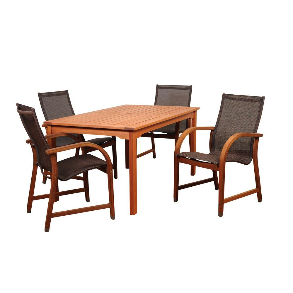 Bahamas 5-Piece Eucalyptus Rectangular Patio Dining Set with Brown Sling Seat