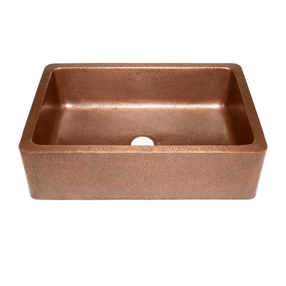 ... Apron Front Handmade Pure Solid Copper 33 in. Single Bowl Kitchen Sink