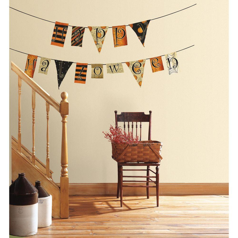 5 in. x 11.5 in. Happy Halloween Pennants Peel and Stick