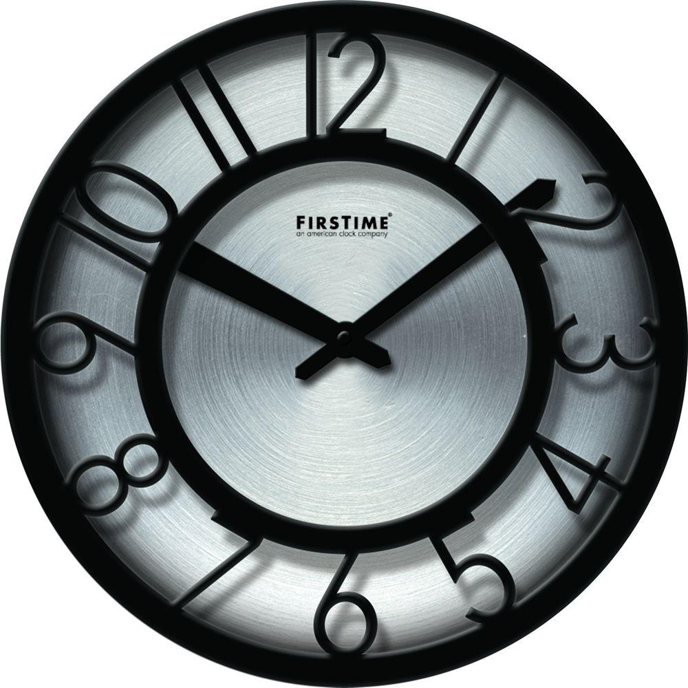 FirsTime 8 in. Round Black on Steel Wall Clock