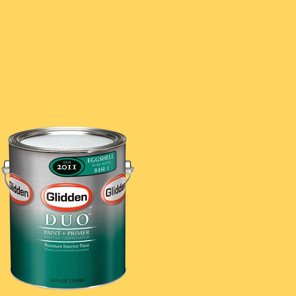 Glidden DUO 1-gal. #GLY03-01E Dazzling Daffodil Eggshell Interior Paint with Primer