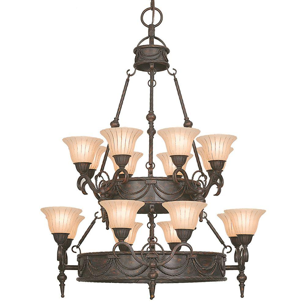 Yosemite Home Decor Isabella Collection 16-Light Earthen Bronze Hanging